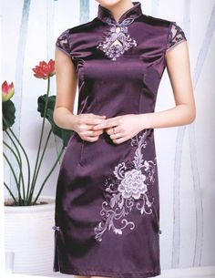 Purple Tradition Chinese Dress with Lace Sleeves by Prettyobession