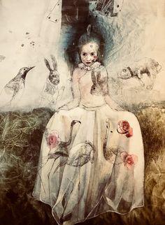Katarína Vavrová -Alice in Wonderland Painting Collage, Figure Painting, Paintings, Faber Castell, Ink Illustrations, Illustration Art, Copic, Fairytale Art, Encaustic Art