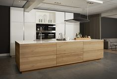 Unit 1 but with water fall edges Ikea Kitchen Design, Luxury Kitchen Design, Best Kitchen Designs, Kitchen Cabinet Design, Kitchen Layout, Home Decor Kitchen, Interior Design Kitchen, Timber Kitchen, Concrete Kitchen