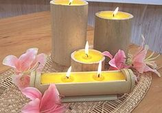Bamboo Art, Bamboo Crafts, Candle Art, Candle Lanterns, Gel Candles, Scented Candles, Ideas De Cabina, Candle Arrangements, Centrepieces