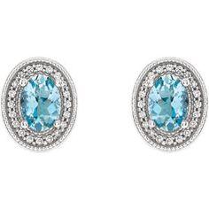 Aquamarine & Diamond Halo-Style Earrings Item #86630