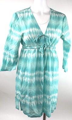fbb2b79dc58 Palm Island Drawstring Tunic Beach Cover Size M Dress Cotton top 3 4  Sleeves