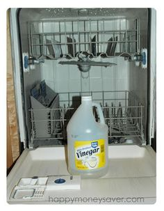 How to use vinegar as a rinse agent. I've been doing this for a while and my dishes shine like they never have before. No more water spots! Also gets the gross white film that can be hard to get off pots and pans (especially when you cook pasta!)