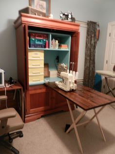 My Repurposed Entertainment Center. Sewing Armoire. Added Painted Wooden  Box And Drop Leaf Counter