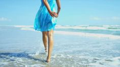 Lower Body Shot Young Ethnic Girl Wearing Blue Sundress Walking ...