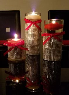 Set of 3 Cylinder Vases Centerpiece (with or without) rhinestones, Hurricane Vase Candle Holder, Wedding Centerpiece - Happily EVER After - Vase ideen Cylinder Vase Centerpieces, Centerpiece Decorations, Bridal Shower Decorations, Vases Decor, Wedding Centerpieces, Christmas Decor Diy Cheap, Christmas Vases, Christmas Bathroom Decor, Christmas Decorations