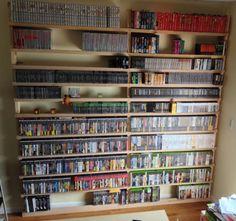 New shelves for the video games.  NES, SNES, N64, Atari 2600/5200/7800, Playstation, Playstation 2, Playstation 3, PSP, Sega Dreamcast, Sega Genesis and TurboGrafx-16