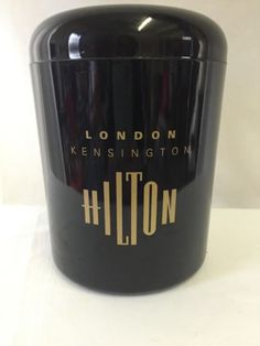London-Kensington-Hilton-Hotel-Ice-Bucket-Small-Black-Gold-Plastic-6-5-x-5-inch