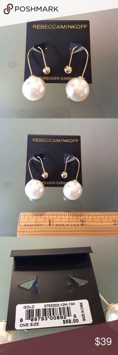 "BNWT Rebecca Minkoff – Faux Pearl Back Threader Brand new with tag & authentic.  ⭕️️Reasonable offers 🚫Trades/PayPal ✔️Bundle to save  Lustrous faux pearls and a sleek threader silhouette converge in one pair of classic-meets-modern earrings. 1 1/2"" drop. Threader back. 12k-gold or imitation-rhodium plate/glass pearl. Rebecca Minkoff Jewelry Earrings"