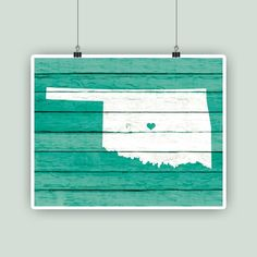 Personalized map art Oklahoma State map print by PrintCorner