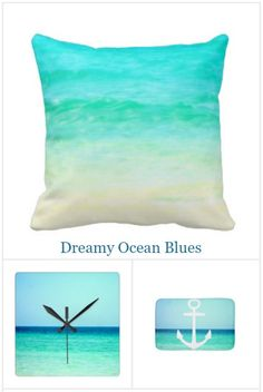 Ocean blue decor accessories: http://www.completely-coastal.com/p/beach-bliss-designs-photo-pillows.html Ocean pillows, wall clocks, bath mats & more. Dreamy ocean blue photo designs that will whisk you away to the calming shoreline!