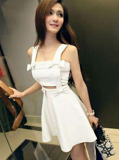 European Station Nightclub Sexy Ladies Temperament Bow Strap Dress White  Item number:QQ14042613-3 Wholesale price:US$ 11.08