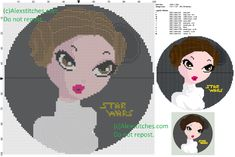 Leia (Star Wars) cross stitch pattern 100x100 12 colors