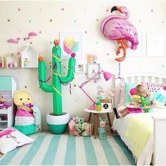 If your a lover of colour you will just LOVE the fabulous styling of @fourcheekymonkeys ... This room is just one example of her vivacious rooms that always make me smile... Seriously how cool is that inflatable cactus... Love it xx #kidsroom #kidsdecor #kidsinterior #kidsbedroom #childrensroom #childrensbedroom #childrensinteriors