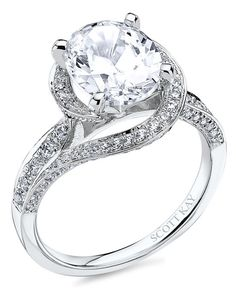 14K white gold Scott Kay ring has a 0.59ctw and a 1ct round center stone diamond. Also available in platinum, 18K white or yellow gold, 14K yellow gold, and palladium | M2316R730 from Scott Kay | www.theknot.com