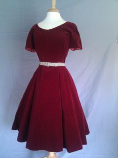 Vintage 1950s Cranberries and Christmas Red Velvet  Party Dress Tea Length Cocktail Evening Dress Plus Size. $110.00, via Etsy.