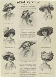 "1910 - Oh, how beautiful the fashions were back then. I pine for this time, as if I lived in it. (Actually, more like ""as if I didn't live in it."" The fantasy, in this instance, was probably more agreeable than the reality.)"