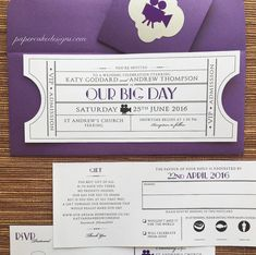 Vintage Ticket Wedding Invitation Suite / par papercakedesigns
