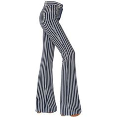 Sonia Rykiel Women Striped Milano Jersey Flared Pants ($980) ❤ liked on Polyvore featuring pants, navy, navy pants, white jersey, white pants, 5 pocket pants and striped pants