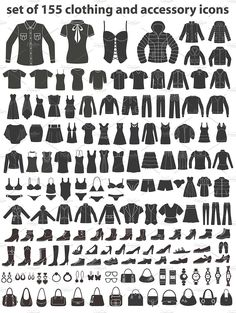 Set of clothing, shoes, accessories line and flat icons. Women's , Men's and Children's fashion. Seamless patterns with icons. in Icons on Yellow Images Creative Store Mens Fashion Sweaters, Mens Fashion Shoes, Grunge Boots, Object Photography, Best Icons, Creative Icon, Men Style Tips, Line Icon, Dress For Short Women