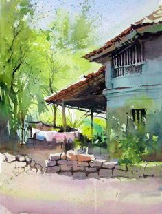 Milind Mulick - Art and Design Watercolor Landscape Paintings, Watercolor Artwork, Watercolor Sketch, Watercolor Illustration, Watercolour Painting, Landscape Art, Water Colour Landscape, Watercolours, Watercolor Architecture