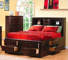 Coaster Home Furnishings Phoenix Bookcase Bed with Underbed Storage Drawers, California King, Cappuccino Fitted Bedroom Furniture, Fitted Bedrooms, Pallet Desk, Murphy Bed Ikea, Murphy Bed Plans, Bedroom Storage, Bedroom Sets, Queen Bedroom, Master Bedroom