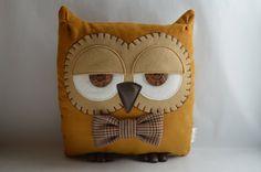"Owl Cushion, Owl Pillow, Plush Owl, Stuffed Owl, Decorative Owl, Woodland Pillow (Mustard Yellow with Custom Bow Tie) - ""Terry the Owl"""