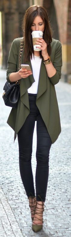 simplistic but sophisticated look + Barbora Ondrackova + every day chic style + khaki blazer + matching heels + skinny black jeans + white tee + outfit is achievable + ultra cute!   Blazer: Asos, Top: Acne, Jeans: Topshop, Heels: River Island.