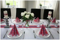 Bilderesultat for blomsterpotter 17 mai Norwegian Flag, Terracotta Pots, Tablescapes, 4th Of July, Indoor Outdoor, Party Themes, Table Decorations, Fest, Google