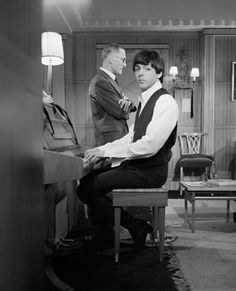 Paul McCartney and Wilfrid Brambell on the set of A Hard Day's Night at Twickenham Film Studios, 1964.