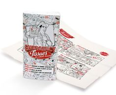 Here at Luckies we are constantly coming up with fun and funky gifts that also have a function and Emergency Tissues are no exception. So, what are Emergency Tissues exactly? Emergency Tissues are a pack of ten 3-ply tissues printed with really nice retro style instructional drawings to help you out of various situations. The guidelines on the tissues will direct you on 'how to' deal with one of these (admittedly unlikely) emergencies...