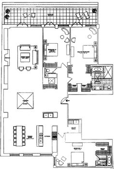 Floor plan for River Lofts penthouse Tribeca
