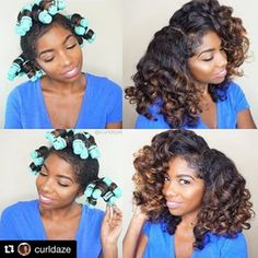 #Repost @curldaze with @repostapp ・・・ No Heat Curls using @getbouncycurls rollers!🌀🌀🌀 1️⃣ Starting on dry stretched hair (see previous post) I put grape seed oil all over my hair.  2️⃣ I put my hair in 3 ponytails and used 4 rollers in each ponytail using @motionshair foaming lotion as my styler.  3️⃣ The next morning I took them down, fluffed, and put gel on my edges.  I did film the take down so I will be posting that soon.  Also, you can use the code No Heat Hairstyles, Black Girls Hairstyles, Latest Hairstyles, Cute Hairstyles, Straight Hairstyles, Roller Set Natural Hair, Natural Hair Tips, Natural Hair Journey, Natural Hair Styles