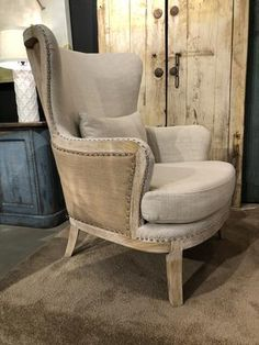 Yosemite Exposed Frame Wingback Chair | The Alley Exchange Chair Makeover, Furniture Makeover, Bedroom Furniture, Diy Furniture, Painted Furniture, Wingback Accent Chair, Chair Upholstery, Wingback Chairs, Armchair