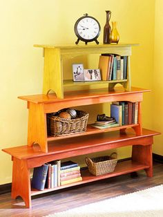 Stacked wooden benches make a nice, colourful shelf.