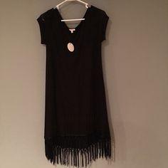 fringe bottom dress Black fringe bottom dress never worn still has tags Dresses