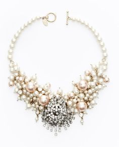Large Pearlized Bead and Crystal Statement Necklace