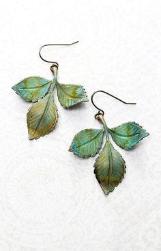 Verdigris Branch Earrings Patina Brass Leaves