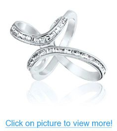 Bling Jewelry Emerald Cut CZ Sterling Silver Infinity Cross Ring
