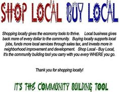 Just a post to remind you we appreciate you shopping locally!