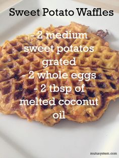 Yummy no flour sweet potato waffles! 1. Grate 2 sweet potatoes, mix well with two eggs, 2 tbsp coconut oil and seasoning. 2. You'll need a waffle maker for this recipe. Cook in waffle maker until cooked through and crispy! 3. Serve with homemade apple sauce or...a naughty glug of maple syrup! www.mutusystem.com #food #mutu #cleaneating