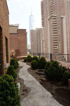 rooftop garden of Robert De Niro's Greenwich Hotel penthouse, in TriBeCa NY, by Belgian decorator Axel Vervoordt & Japanese architect Tatsuro Miki