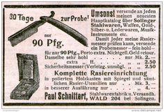 Original-Werbung/ Anzeige 1909 - RASIER - EINRICHTUNG  / SCHNITTERT WALD-SOLINGEN - ca. 75 x 45 mm