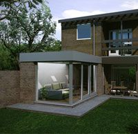Contemporary extension with modern house