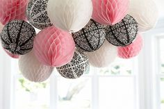 DIY Honeycomb Ball and Paper Lantern Chandelier! #diy #chandelier ParisDamask Birthday Party #birthdayexpress @David Nilsson Nilsson Dahlquist Express