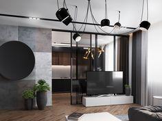 Dark living room interior