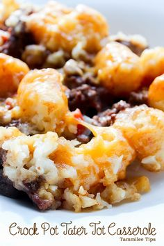 Crock Pot Tater Tot Casserole Recipe! One of our top slow cooker recipes! So easy to make and tastes amazing!