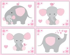 Pink and gray elephant wallpaper border wall art decals for baby girl safari jungle animal nursery decor. Add matching wall art prints and baby's first year scrapbook pages. One set includes four sticker sheets. Pink Elephant Nursery, Elephant Wall Art, Baby Girl Elephant, Elephant Baby Showers, Grey Elephant, Animal Nursery, Elephant Bedding, Cartoon Elephant, Baby Boy