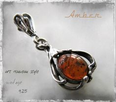 Beautiful vintage silver pendant with amber stone - art nouveau -style - www.flearoom.fi