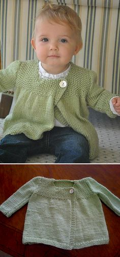 Cute Sweater This Knit pattern / tutorial is available for free. Free Baby Sweater Knitting Patterns, Knit Vest Pattern, Baby Hats Knitting, Knitting For Kids, Free Knitting, Crochet Baby Clothes, Baby Sewing, Creations, Baby Knits